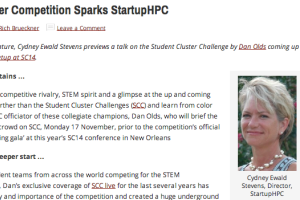 For a healthy dose of competitive rivalry, STEM spirit and a glimpse at the up and coming innovators, look no further than the Student Cluster Challenges (SCC) and learn from color commentator and SCC officiator of these collegiate champions, Dan Olds, who will brief the StartupHPC meet-up ...